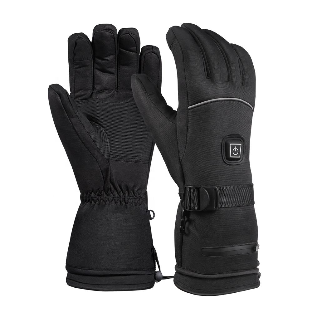 Wholesale Custom Winter Battery Rechargeable Electric Waterproof Outdoor Sports Usb Powered Heated Warm Ski Gloves For Men