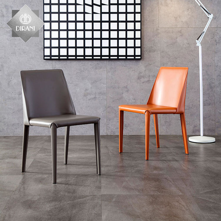 modern industrial style home use dining chair high quality luxury metal legs leather dining chair