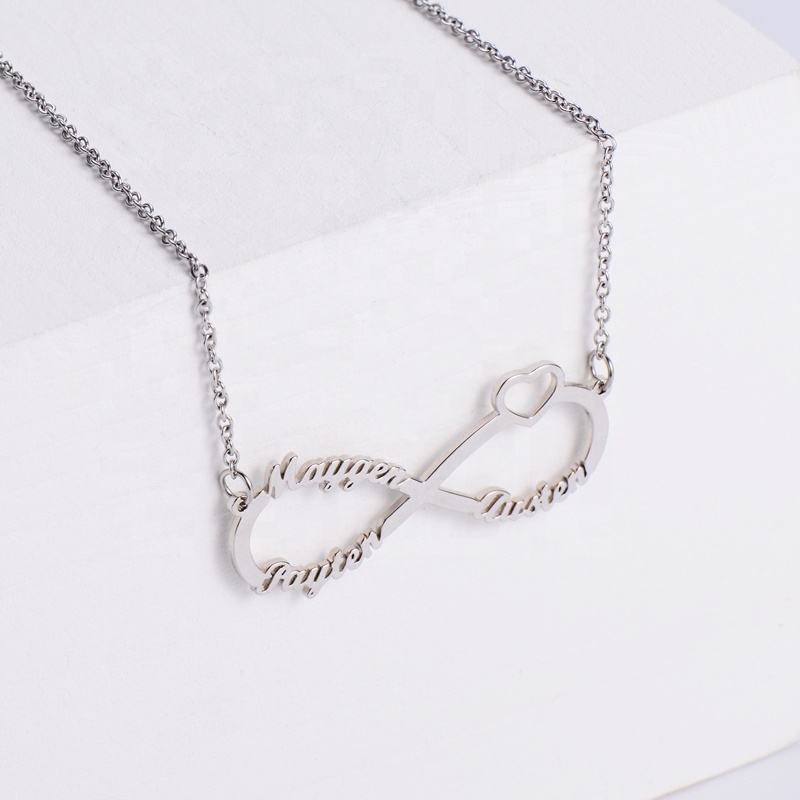 Aizhilin Colar Personalizado Silver 925 Sterling Heart Infinity Customised Name Necklace Personalised Letter jewellery Women