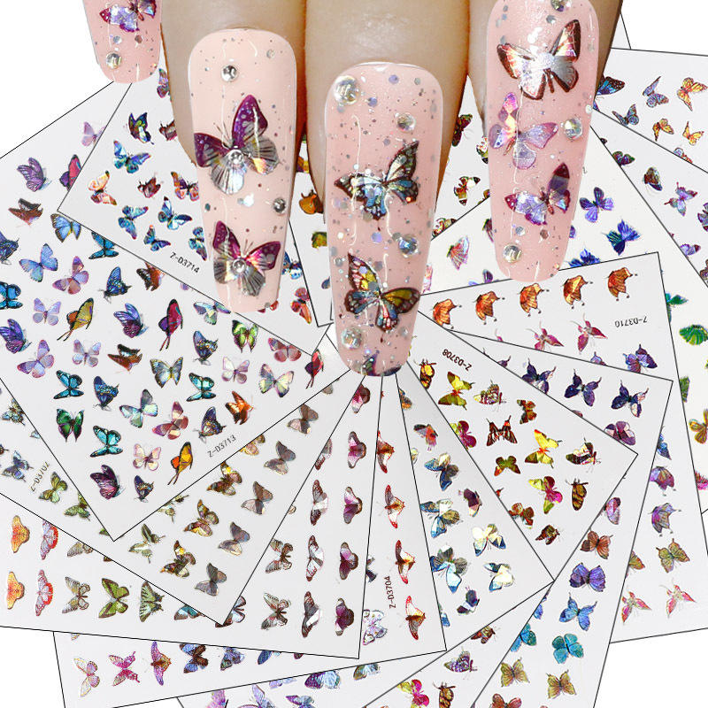 Wholesale Supplies Adhesive Butterfly Nail Art Decal Holographic Waterproof Profession Designer Butterfly Nail Sticker