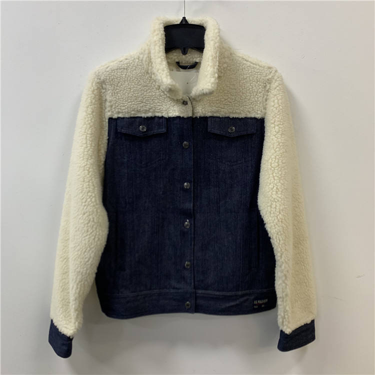 Wool decoration winter ladies custom women jean jacket,women's sherpa denim jacket