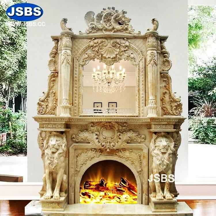 European interior decorative hand carved Yellow marble fireplace with lion statue