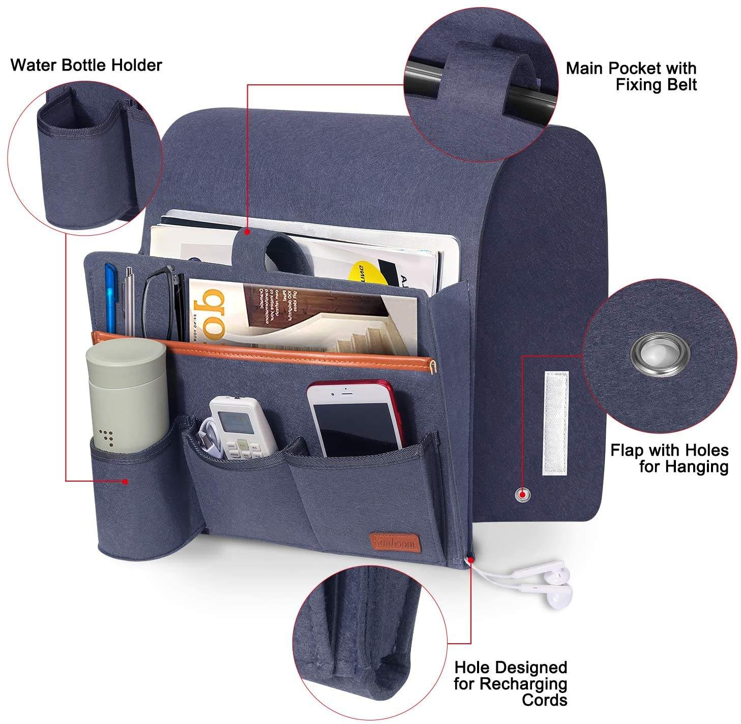 Sofa Organizer Sofa Armrest Hanging Storage Bag for Magazine Remote Control with Water Bottle Holder, Suitable for Couch Bedside
