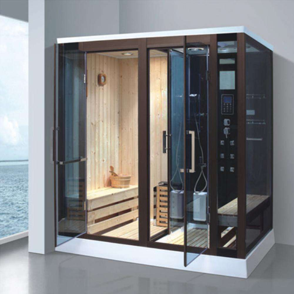 Modern indoor bathroom solid wooden steam cabinet sauna room shower