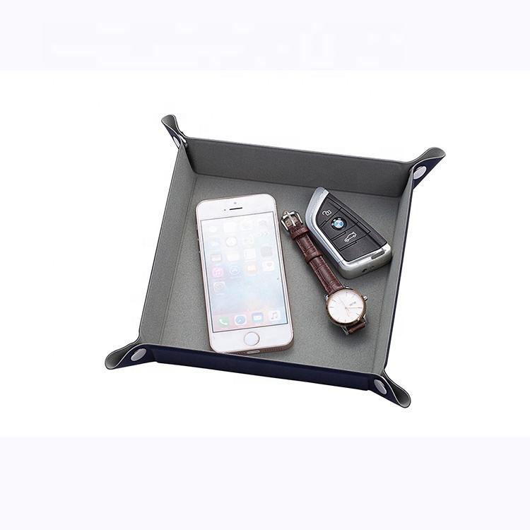 Desk organizer PU Leather Key Phone Coin Change Watch Glass Valet Sundries Storage Tray