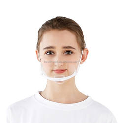 Transparent plastic face mouth cover for cook waiter/waitress bar attendant anti-fog