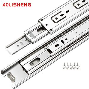 45mm width 3 folds Soft closing ball bearing telescopic furniture drawer slide