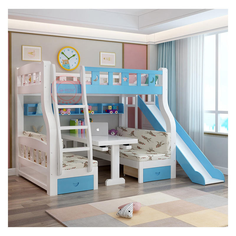 bed room furnitures modern new design loft bunk bed children double deck bed with study table
