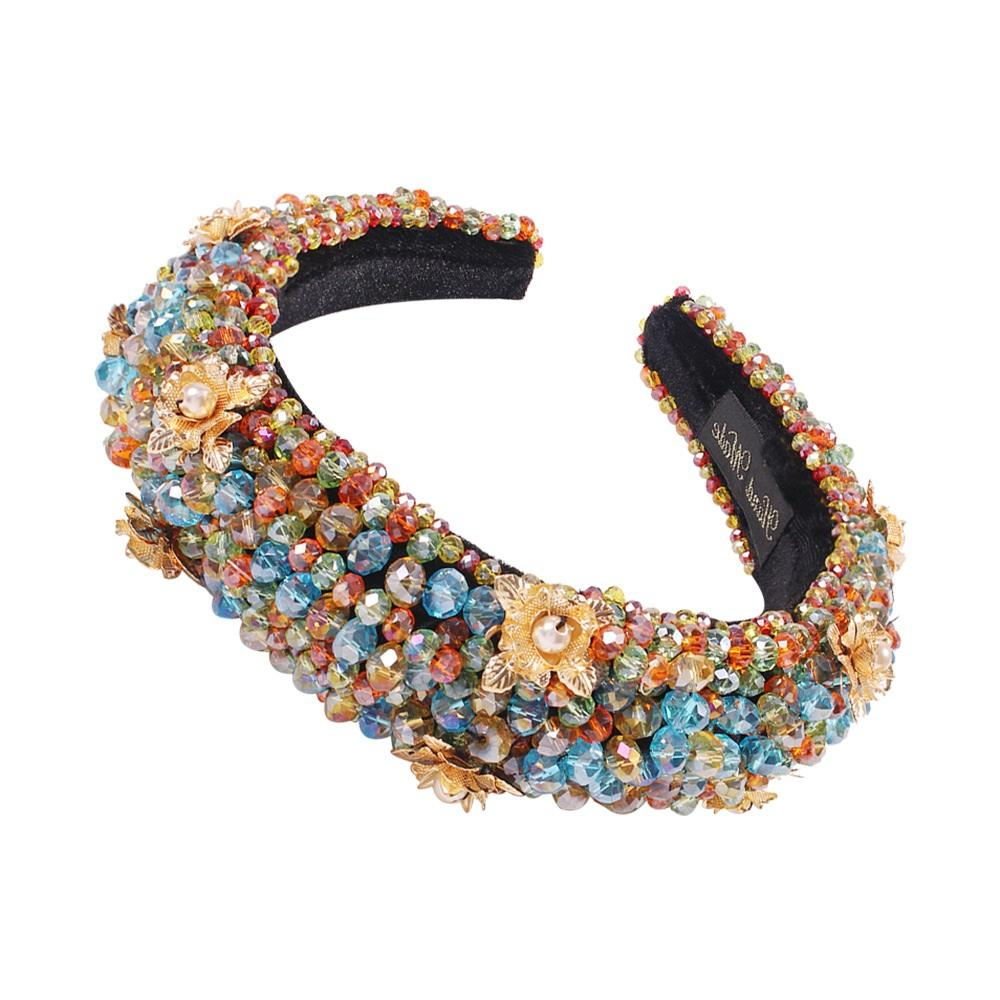 Rainbow Bejeweled Padded Headbands Fashion Luxurious Rhinestones Sponge Hairbands for Women Sparkly Novelty Headbands