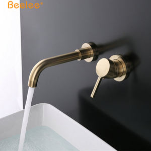 Beelee Wall Mounted Basin Mixer Brushed Gold Concealed Basin Faucet
