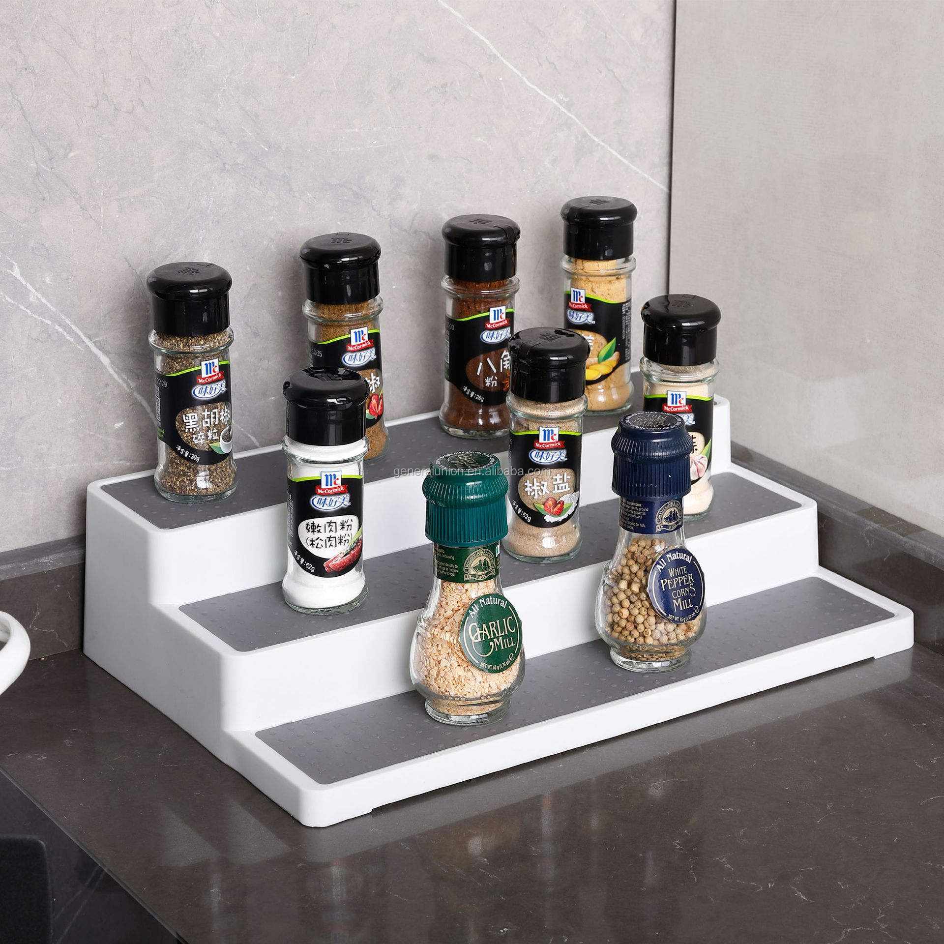 3-tier PP spice rack cabinet organizer kitchen storage