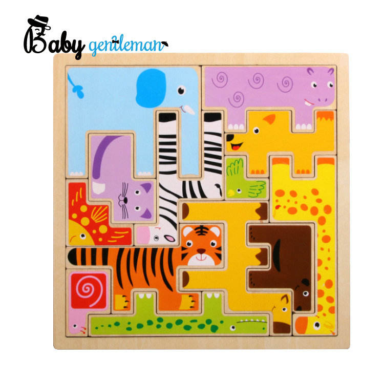 Educational Colorful Animal Wooden Toys Cute 3d Wooden Puzzle Blocks Wooden Toys For Kids Z14246A