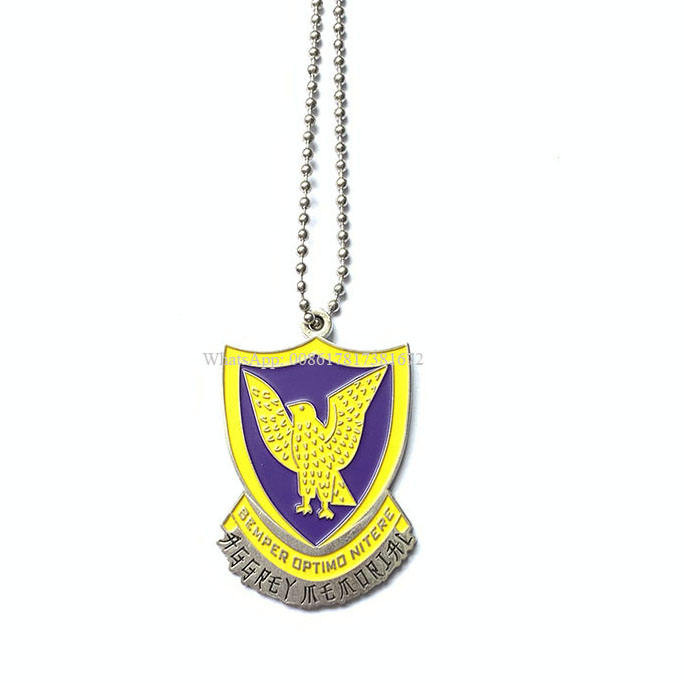 Factory Custom Ghana National Emblem Logo Dog Tags Necklace With Ball Chains