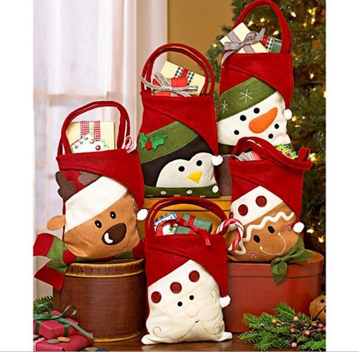 Portable felt christmas small gift bags cheap felt christmas candy bags