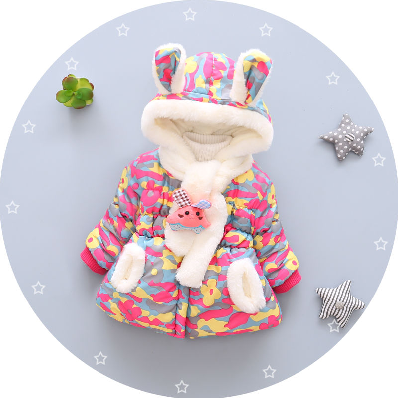 fashion warm plush scarf kid boy girl thick plush coat children winter cotton coat for wholesale