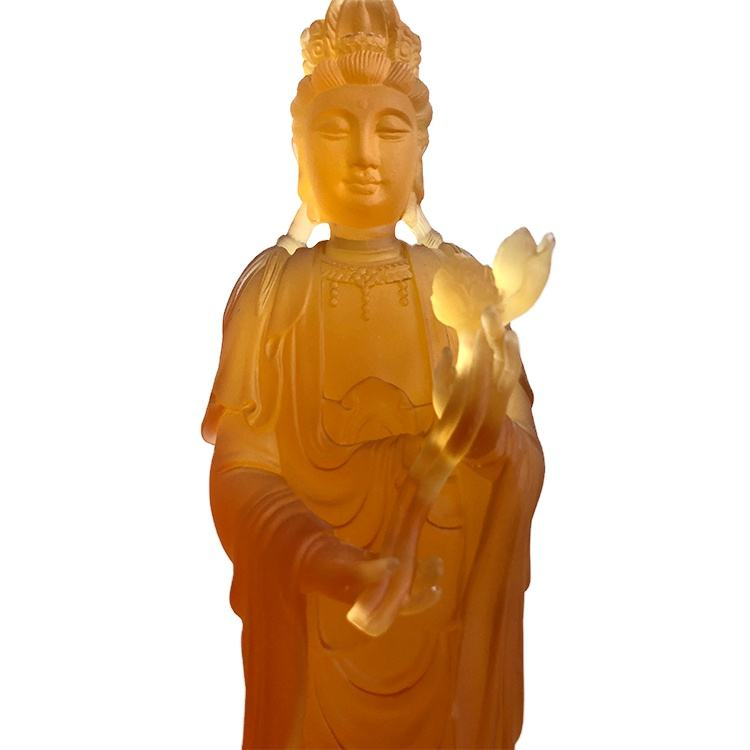 Amber Traditional Liuli Crystal Home Decoration Bodhisattva Religious Statues For Sale