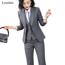 Lenshin 3 Pieces Suit Set Pant Suit Women Quality Office Ladies Work Wear Women Formal Suits Female Blazer Jacket Vest trousers