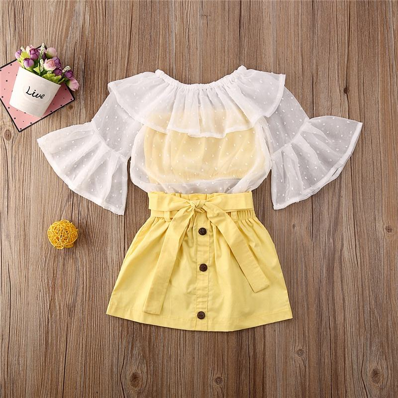 Summer Kids Baby Girl Sets Dot Ruffles Chiffon Cover-Ups Strapless Vest Bow Mini Skirt 3Pcs Child Girl Clothing Outfits