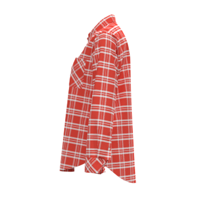 Fashionable 100% Rayon Poplin Spring Women Top Shirt White Red Plaid Long Sleeve Shirt Blouse For Ladies