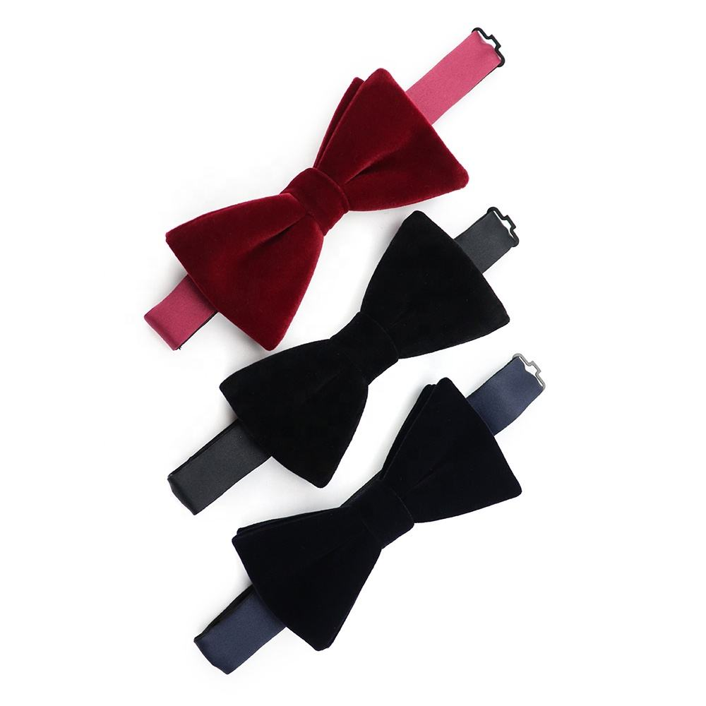 Multicolor High Quality Velvet Texture Three Custom Designs Bowtie Solid Color Man Fashion Plain Bow Tie Boys Cotton Bow Ties
