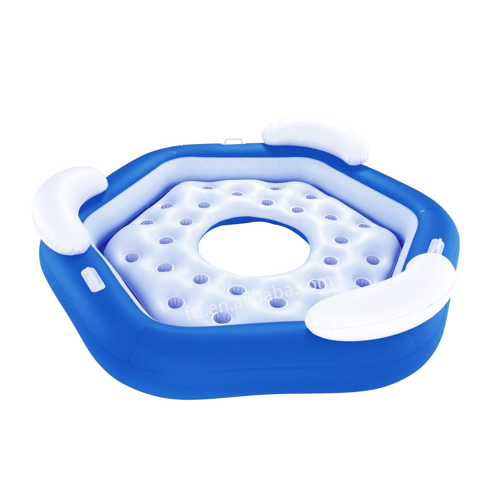Inflatable floating island 4 persons cup holder ring floating island 4 persons party inflatable raft