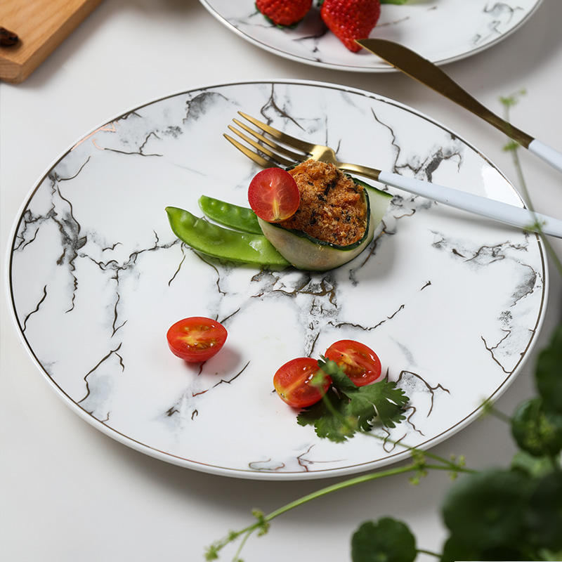 Marble Sets Dinnerware Dinner Marble Hot Sales Marble Golden Ceramic Plates Sets Dinnerware Porcelain Dishes