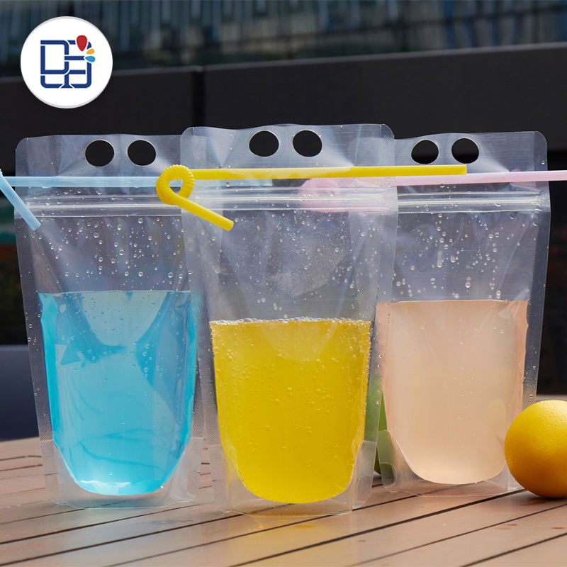 Print Logo Self Standing Disposable Beverage Drink Juice Pouches Bags Plastic Food Packaging With Straws