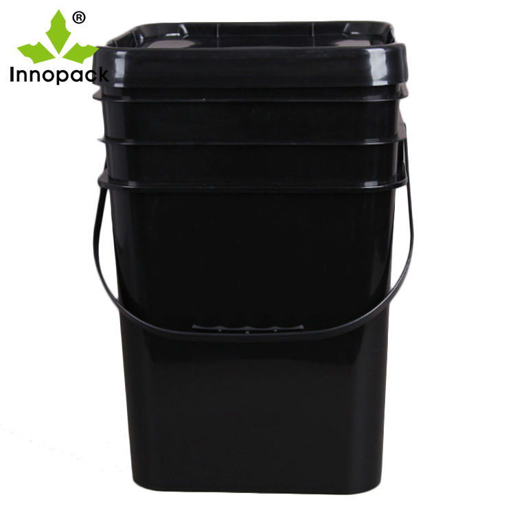 Food Grade 5 Gallon Square Black Plastic Bucket