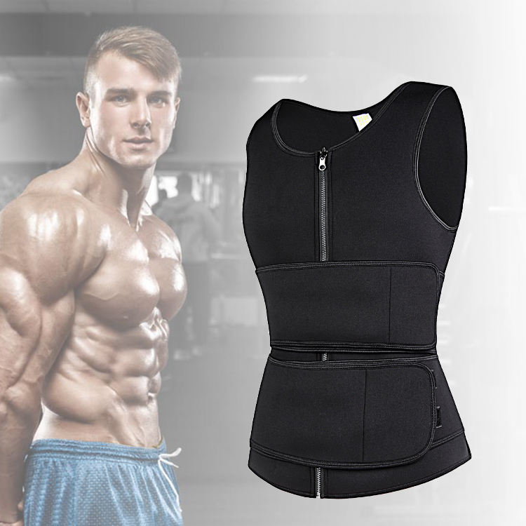 Low Moq Seamless Men Vest Tank Top Set Sauna Suit Sport Fitness From China Gym Outfit Set Sauna For Men Neoprene Men's Slimming