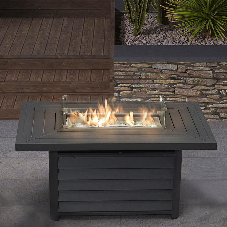 Modern backyard warming aluminum recctangle patio outdoor fire pit table gas