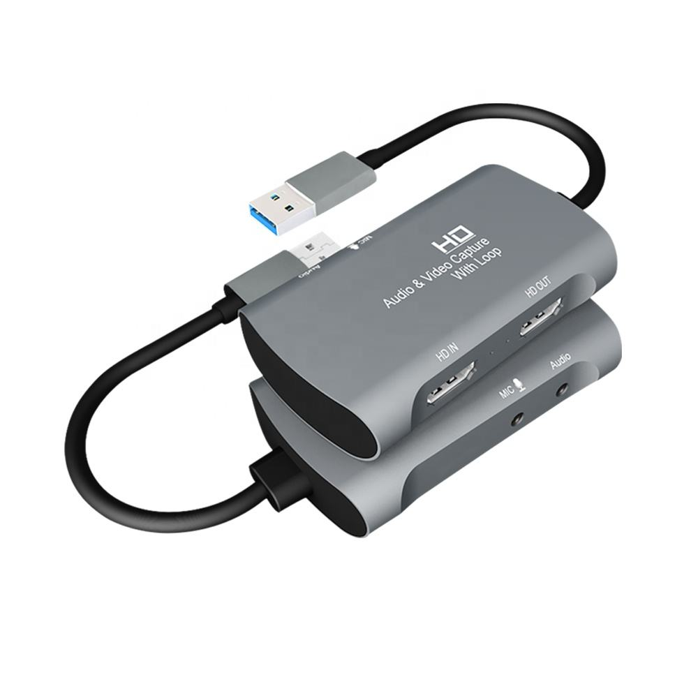 HD MI Game Capture Card HD 1080P Video Recording to USB 2.0 Support Mic In Audio Capture Box With Loop