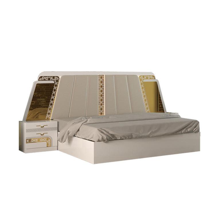 Moderno dormitorio pintado de blanco, camas de madera Simple de cómodas camas diseños con espejo