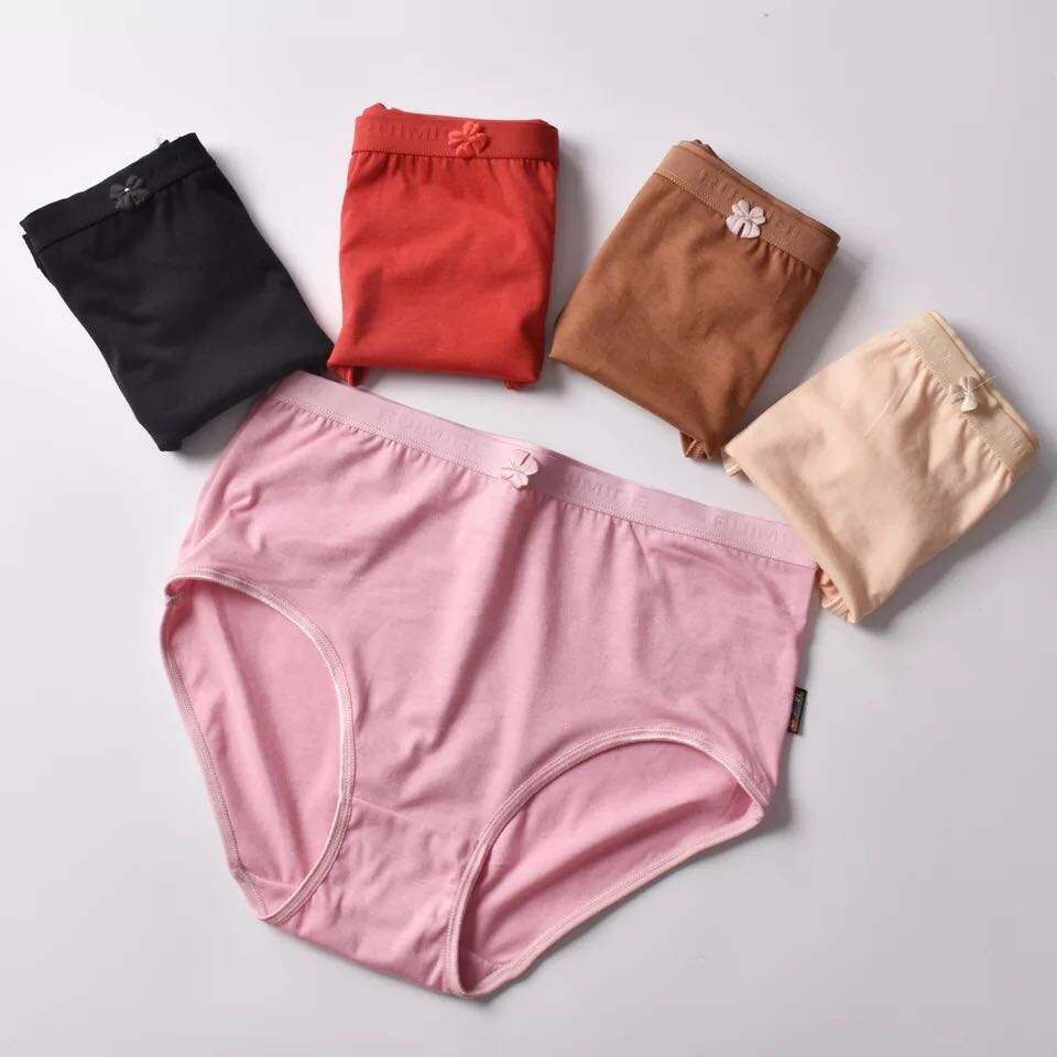 plus size middle-aged and old people add fertilizer pure color polyester cotton women's underwear