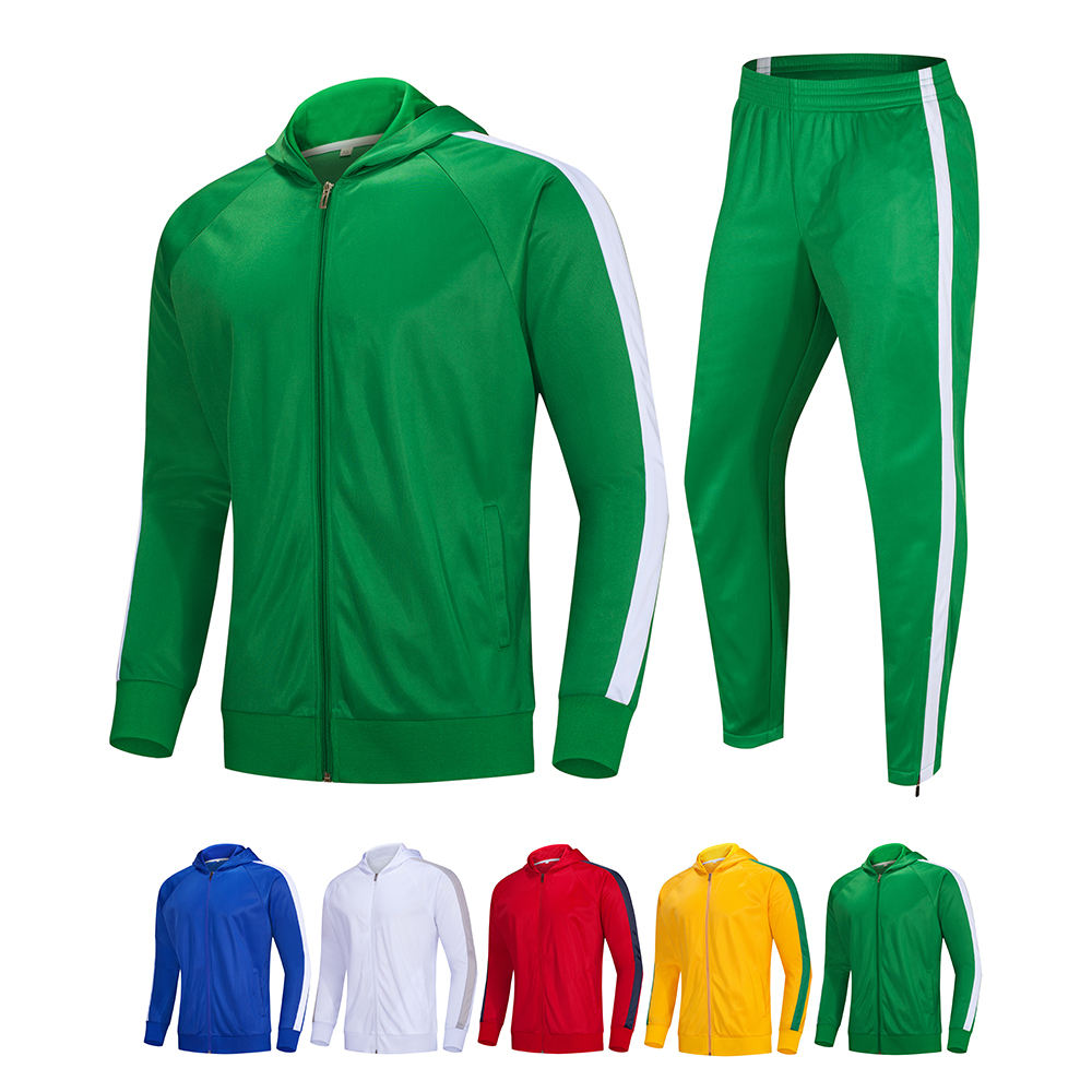 Wholesale OEM Men plain Sweat Suits with Contrast Stripe Hooded Jackets men jogging tracksuit with hood
