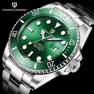 Pagani design PG1639 luxury green men mechanical watch genius sapphire steel strap water resistant automatic business watch