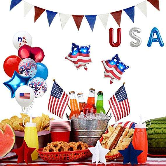 15PCS America 4th of July Independence Day Party Decorations Set With Ballons and USA Banner