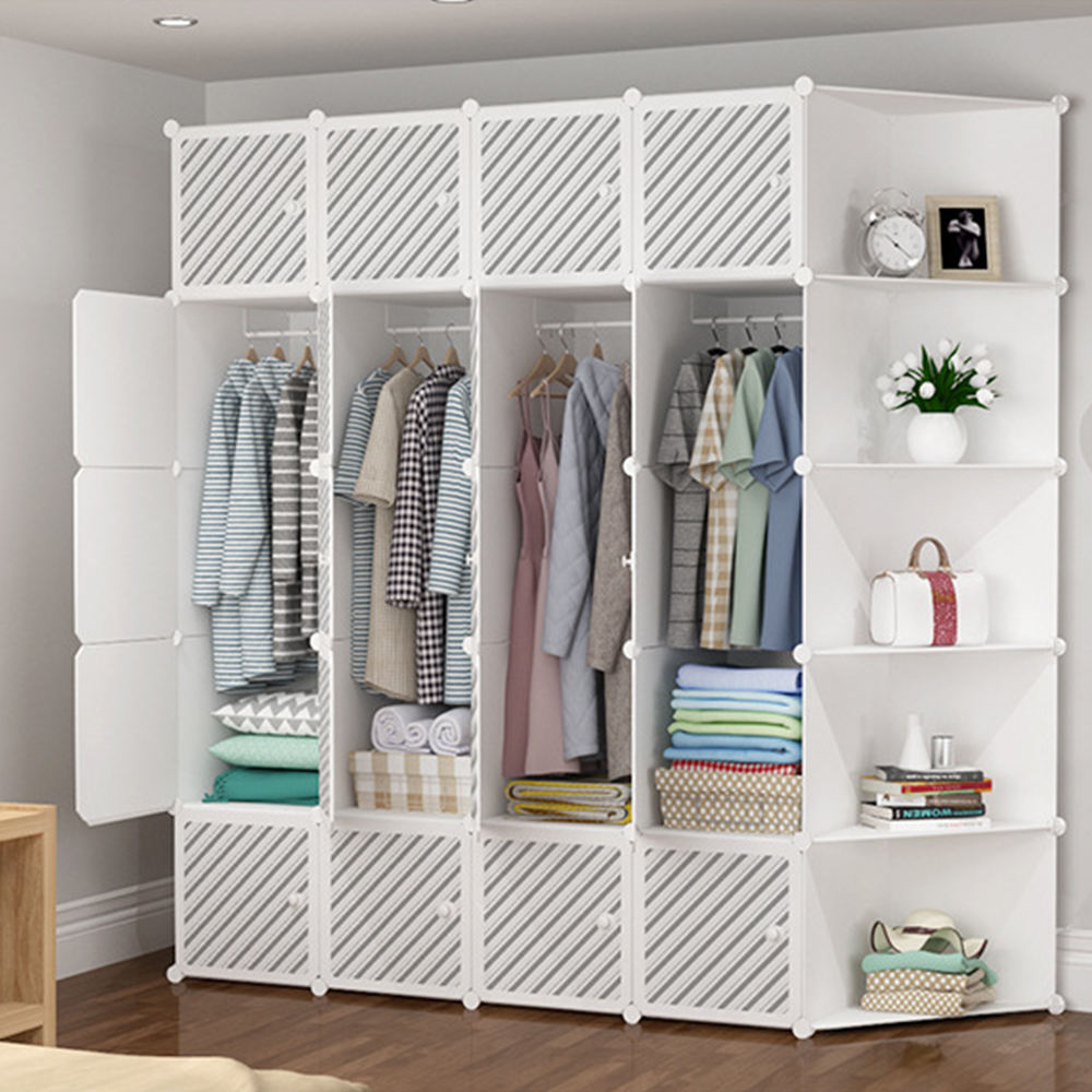 Plastic Wardrobe for Hanging Clothes for Space Saving Ideal Amoires & Wardrobes, New Design Storage Closet Plastic Wardrobes