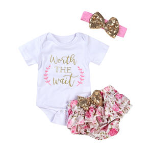 Summer Girls Clothes Romper Set Baby Child Short Sleeve Floral Pants Hair Band 3 Piece Set