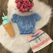 New Fashion Toddler Kids Girl Clothes Set Summer Off Shoulder Tops + Striped Skirt 2PCS Outfit European Child Suit