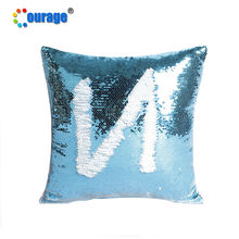 new arrival Light blue color satin backside sublimation sequin pillow case blank