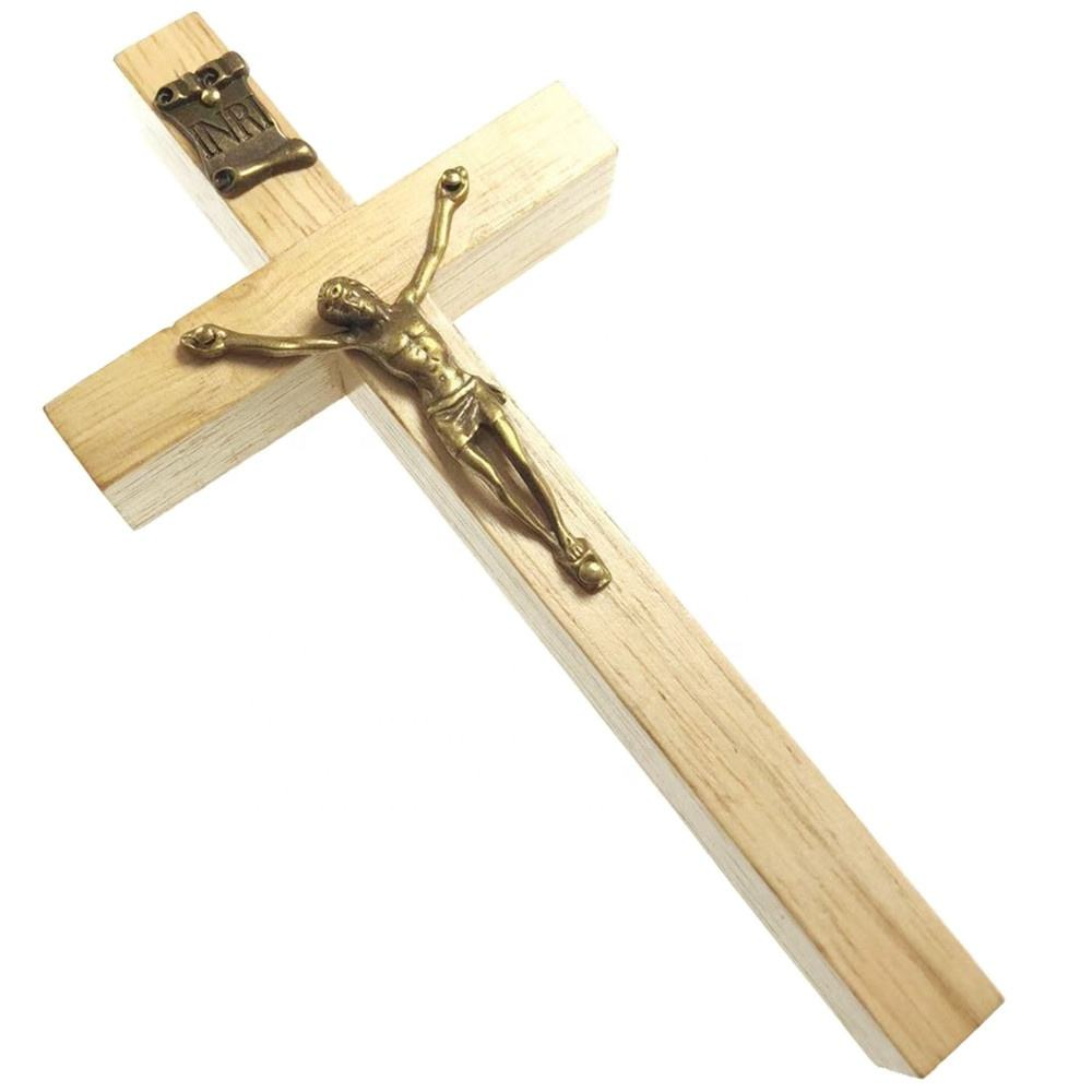 15.2cm clear varnished natural rubber wood cross jesus statue cross wood wall crucifix catholic cross