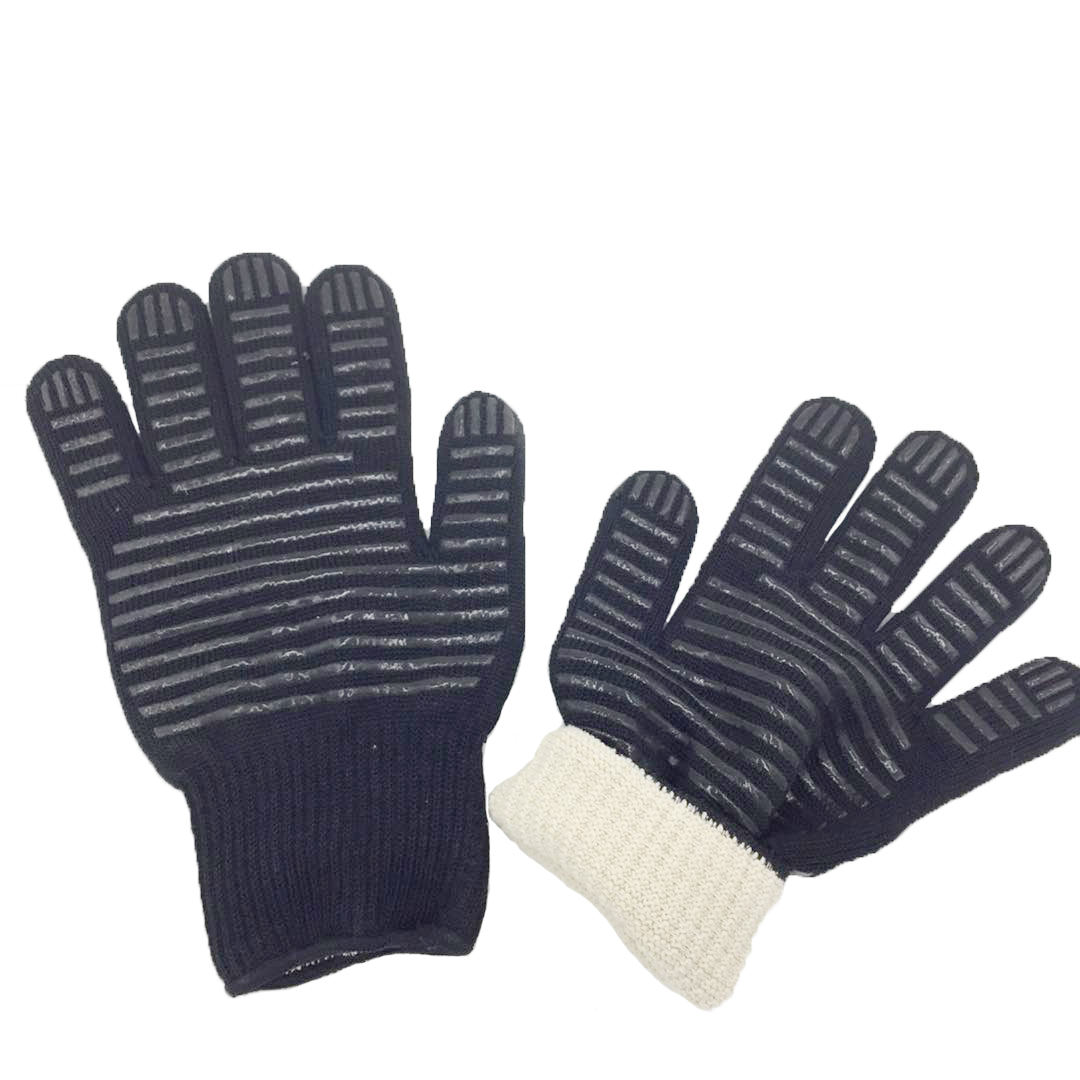 HPPE Aramid Liner Silicone Coated Heat Resistant Work Gloves