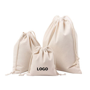 Custom Logo Small White Canvas Bags Organic Drawstring Cotton Cloth Bag