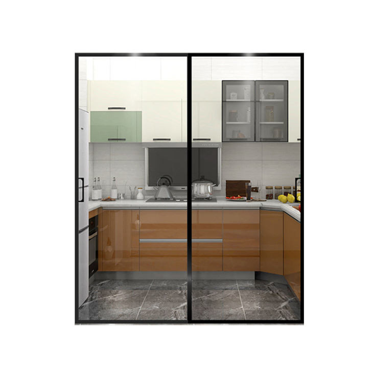 living room kitchen glass doors partition large Sliding glass Sliding Door With Tempered Glass
