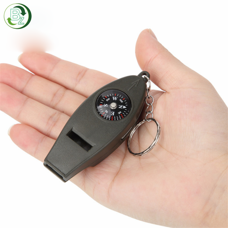 Hohe qualität Military 4 in 1 Kompass Thermometer ABS Pfeife mit keychain ring