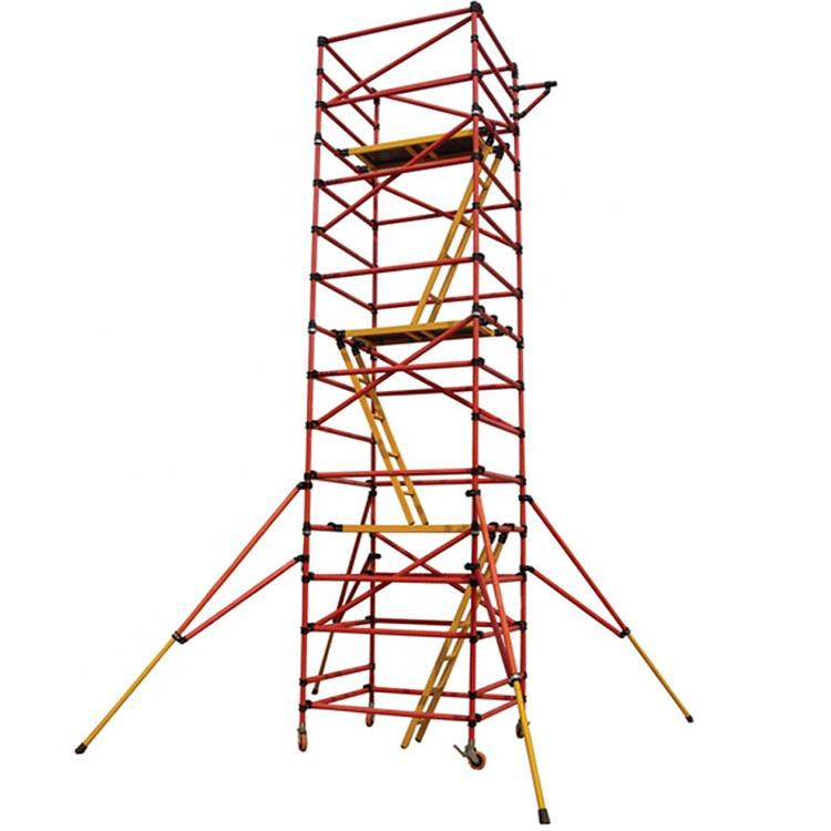 Portable quick setup insulation fiberglass tower scaffold system with built-in stair