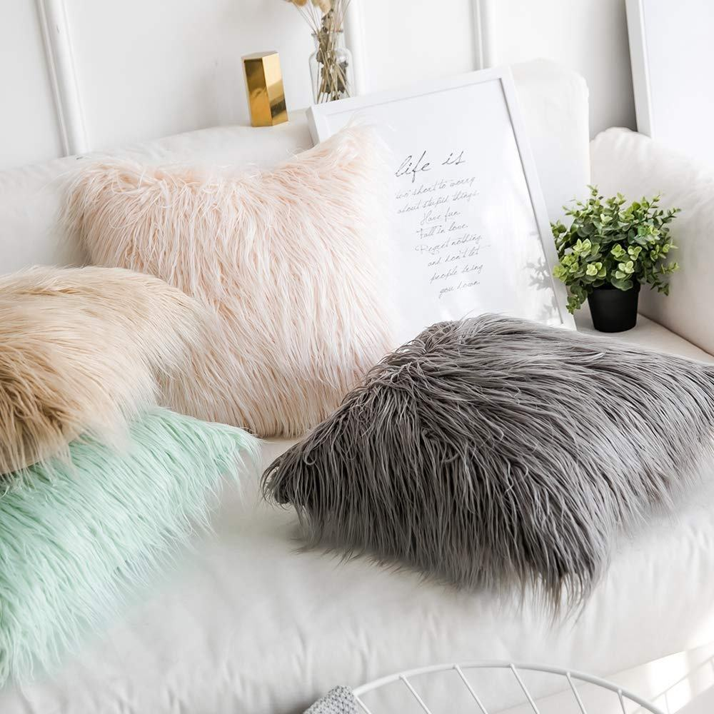 High quality Mongolian fur pillow fur cushion grey fur pillow for Living Room Bedroom 18 x 18 Inch 45 x 45 cm