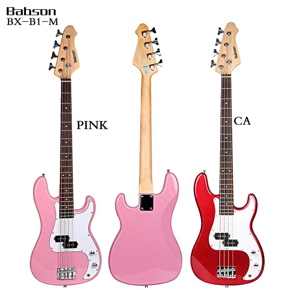 BX-B1-M Hot Selling Pink And Red Babson Electric Bass Guitar For Sale