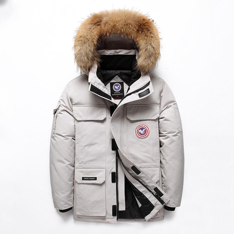 High quality wholesale big fur collar canada style men's goose down jacket thick outdoor winter coat
