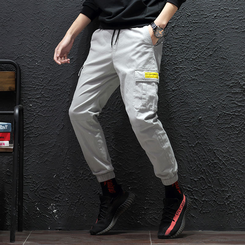 Fashion handsome boy leisure beam foot cargo slim fit mens cotton trousers casual pants